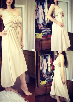 Шифоновое платье с длинным шлейфом