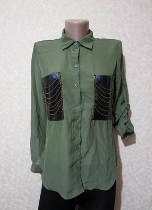 Стильная рубашка с кожаными кармашками rue 21
