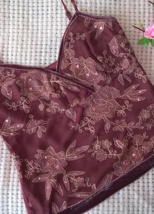 Красивая, нарядная майка из шелка в цветах и с паетками от principles (см. замеры)