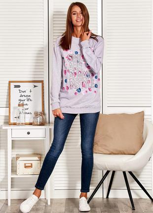 17-150 женская кофта свитшот удлиненная кофточка oversize