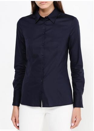 Классическая элегантная рубашка темно-синего цвета р. l/40, от hugo boss