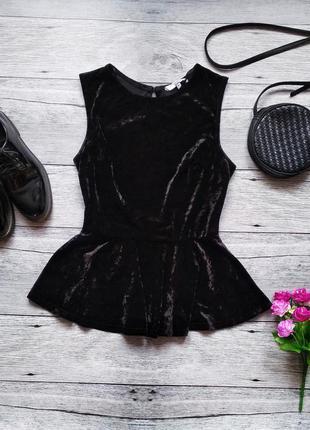 Бархатная блуза с баской от new look