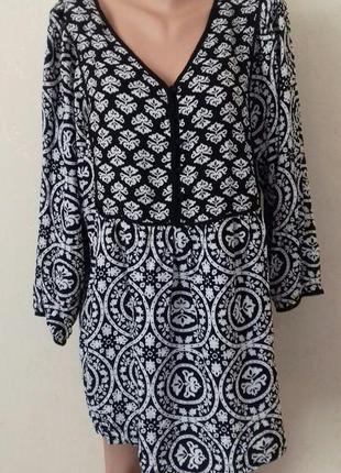 Натуральная блуза с принтом большого размера