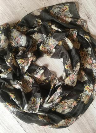 Шелковый платок шарф палантин с черепами 100%шелк