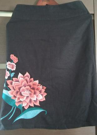 Юбка лен с вышивкой на подкладке