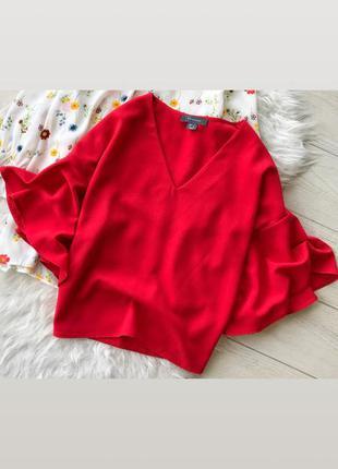 Новая блузка красная с воланами primark