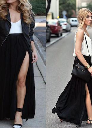 Стильная длинная юбка черная