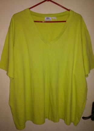 Натуральная,трикотажная,лаймовая блуза-футболка,большого 26/28 размера,bonprix