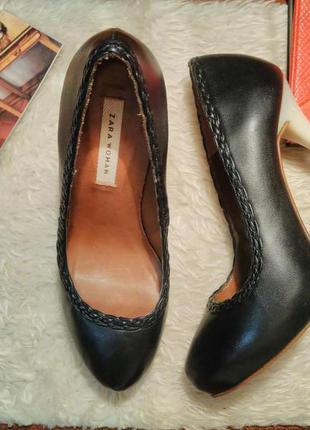 Кожаные туфли на высоком каблуке (на шпильке) zara