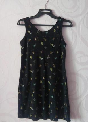 Черное платье-мини с принтом, короткое платье для дома, короткое платье коттон