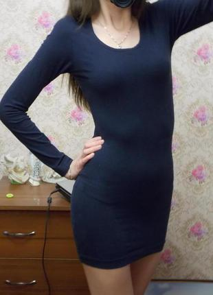 Синее платье по фигуре длинный рукав размер 38