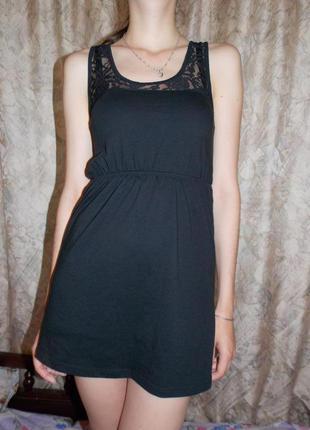 Нежное чёрное платье итальянского бренда tezenis 34 размер!
