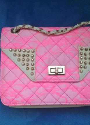 Бесплатная доставка* клатч на цепочке, ярко-розовое кружево