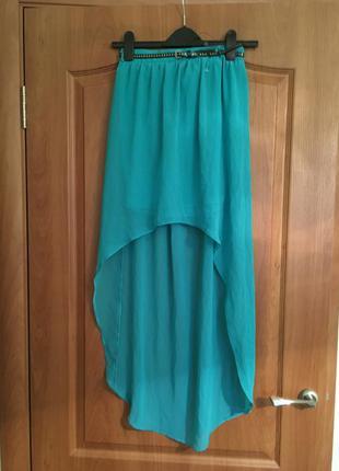 Шелковая бирюзовая нарядная юбка