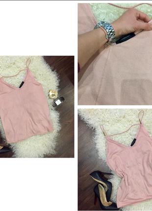 Блуза майка пудового цвета с эффектом замша atmosphere