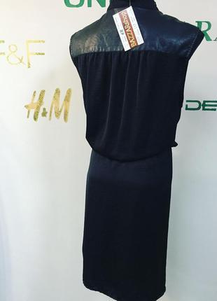 Стильное платье на запах с кожаными вставками #157