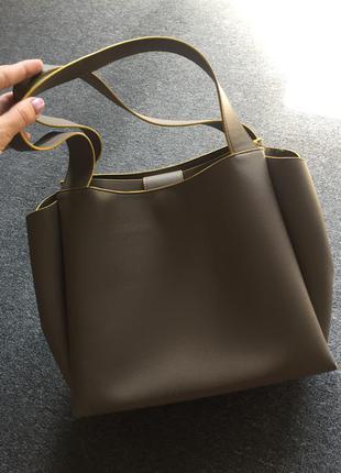 Сумка zara, бежевая молочная коричневая сумка зара, сумка с короткими ручками