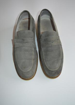 Мокасины туфли серые замшевые 44р