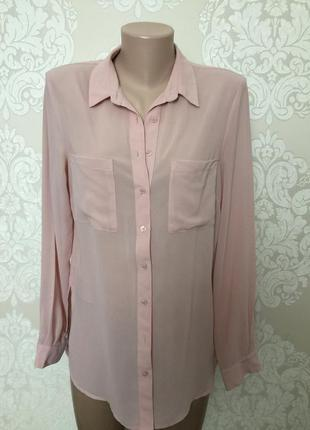 Шифоновая блуза пудра/ рубашка пудра
