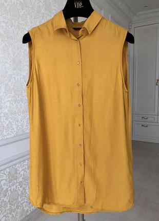 Блуза/ горчичного цвета/оригинал / massimo dutti/ размер s/m