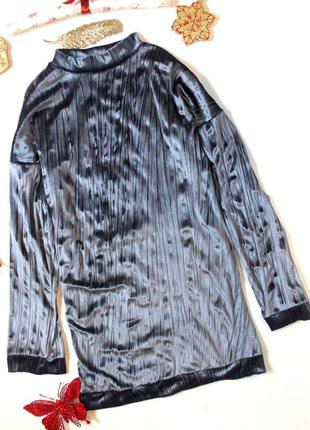 Бархатное серое платье оверсайз свободное жатое худи туника