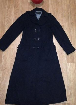 Стильное длинное двубортное пальто класcика весеннее осенее сафари демисезонное 42-44-46