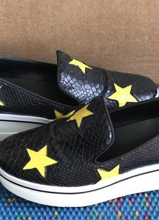 Черные туфли слипоны лоферы со звездами stella mccartney оригинал 38 р