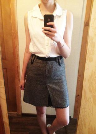 Классическая  серая меланжевая юбка