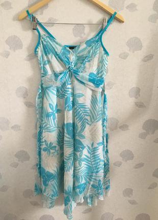 Летний голубой сарафан платье миди