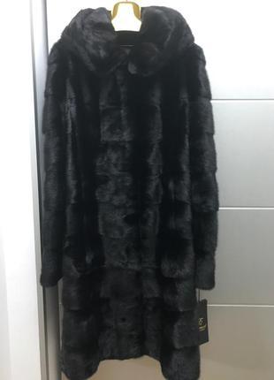 Шуба норковая с капюшоном черная -  трансформер