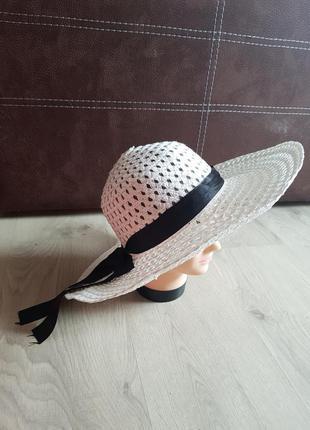 """Клевая летняя """"соломенная"""" бежевая шляпа с большими полями"""