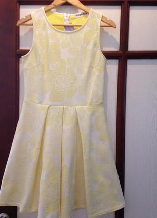 Новое женственное платье amplebox с кружевным эффектом бело-желтого цвета!!!