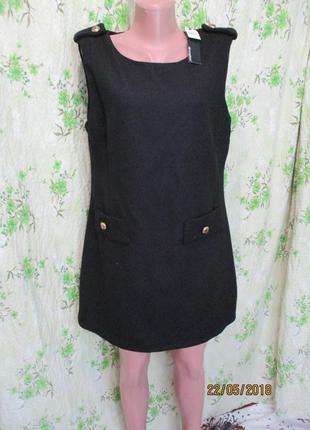 Черное платье из фактурной ткани/декор 48-50 размер