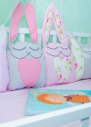 Защита бортики в кроватку зайцы и совы