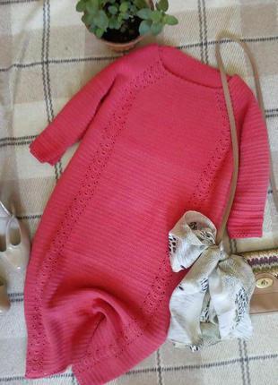 Стильное платье полуприталенного силуэта шикарного кораллового цвета hand made