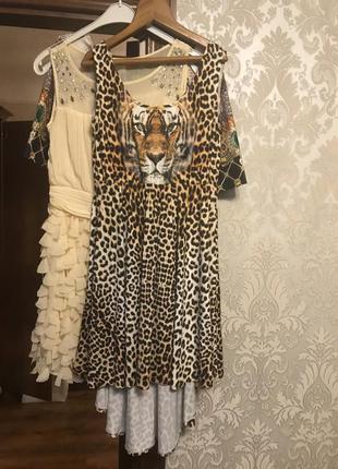 Платье с принтом  леопард, турция