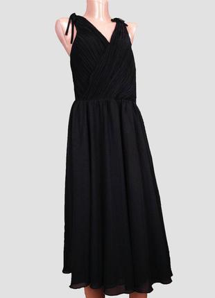 Черное вечернее платье миди плиссе