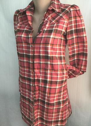 Теплая длинная рубашка giordano платье с карманами