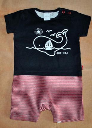 Ромпер песочник бодик junior j с китом на 3-6мес