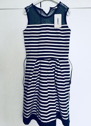 Платье элегантное в полоску с поясом