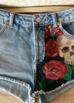 Шорты джинсовые короткие с принтом