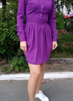 Платье musthave фиолетовое короткое с длинными рукавами
