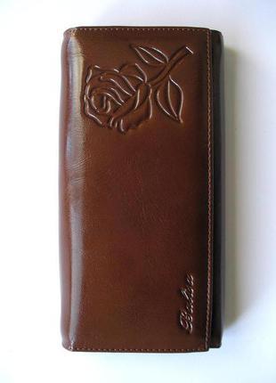 Большой кожаный кошелек кофейная роза, 100% натуральная кожа, доставка бесплатно