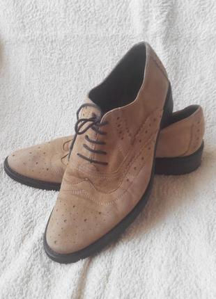 Классные замшевые мужские туфли, 40р.