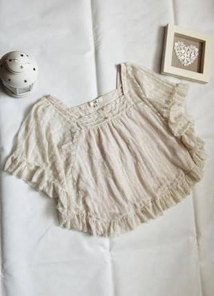Блуза топ бежевого цвета в стиле бохо этно