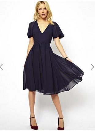 Платье миди с рукавами-воланами asos и полуоткрытой спиной