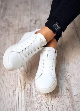 Стильные кожаные кеды мокасины кроссовки