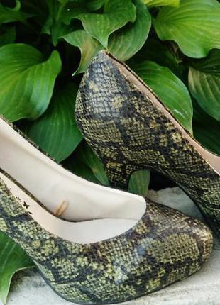 Туфли средний каблук 36 37 зелёные под кожу змеи 23 см