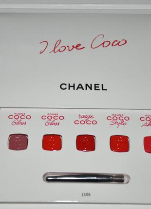 Палетка помад chanel rouge coco 5 оттенков по 0.25г  в комплекте кисточка