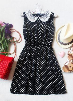 Вискозное платье в мелкий горошек с ажурным воротником, размер 38(10), см.замеры